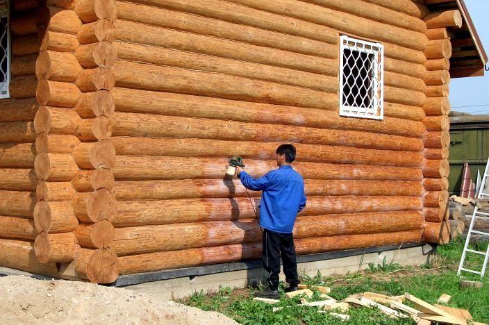 Можно ли красить бревенчатый дом в дождь